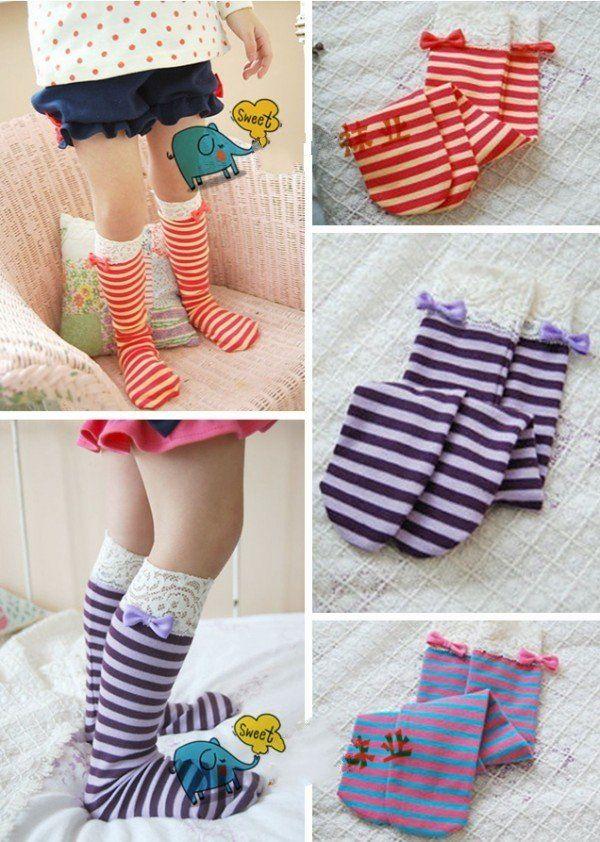 Dhl / EMS бесплатная доставка малышей детские дети принцесса атласный бант полоса длинные носки ноги теплые, Леггинсы 30 пар/лот