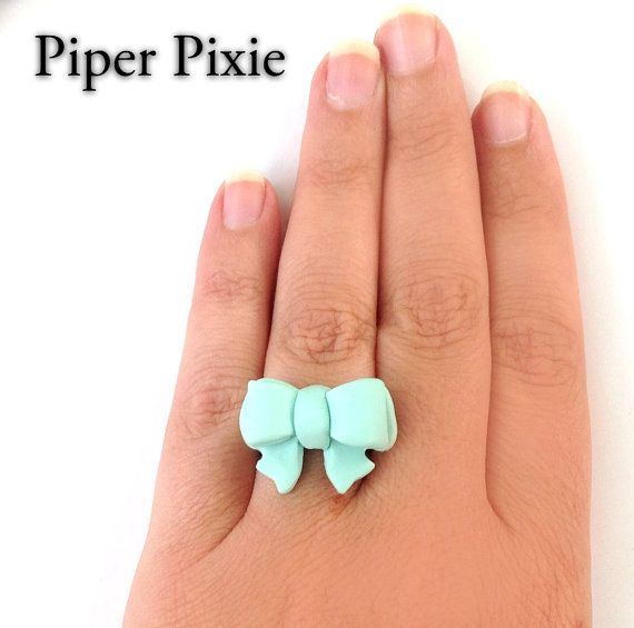 Mint Bow Ring, Bow Jewelry, Mint Jewelry, Tiffany Blue Bow Ring, Polymer Clay Ring, Gifts for Her, Cute Jewelry on Etsy, $12.00