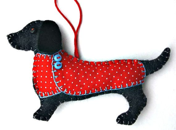 Handmade Dachsund ornament for Christmas or any occasion. Otto is made from felt, with a jolly buttoned jacket in printed cotton, and a cotton
