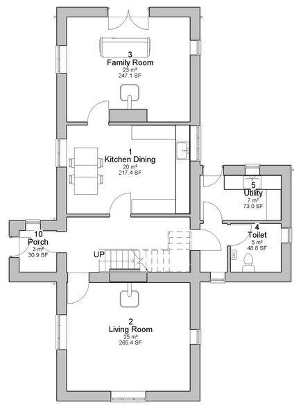 Caragh traditional Irish cottage house plans ground floor plan Enlarge bathroom, make family room or LR a bedroom. Done.