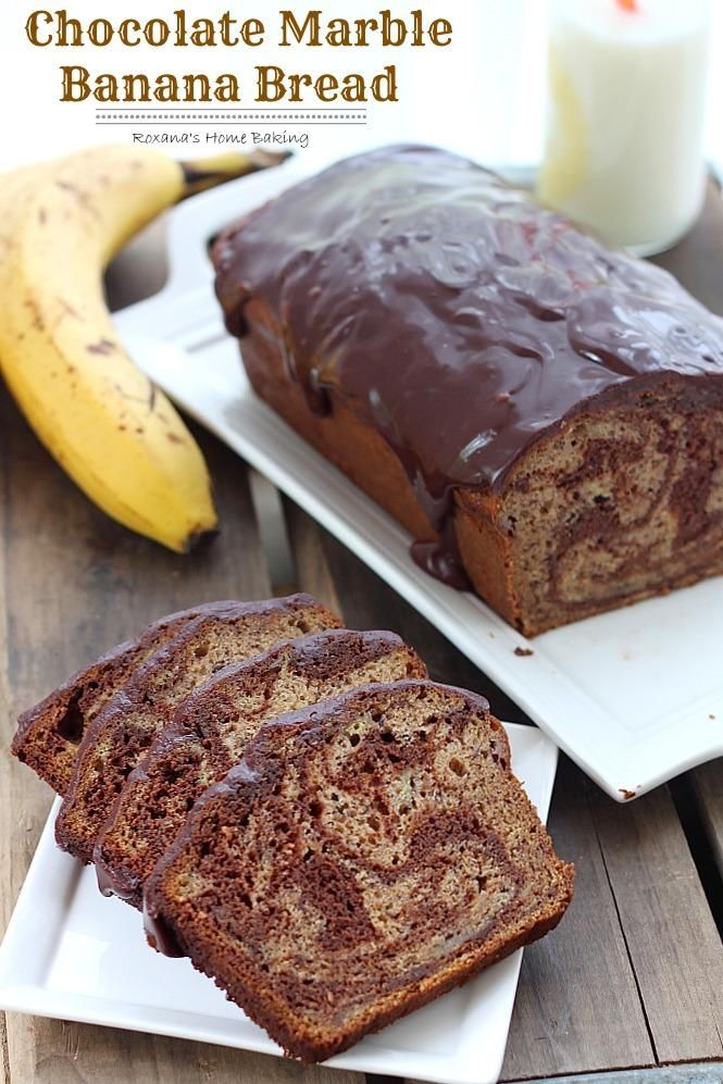 Chocolate Marble Banana Bread via @RoxanaGreenGirl | Roxana's Home Baking // Rich semi-sweet chocolate swirled into a moist and delicious banana bread with a touch of #cinnamon to bring out all the wonderful flavors! #banana #recipe