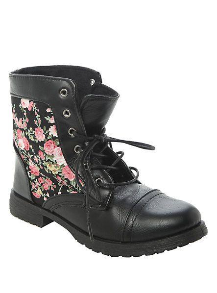 Black Floral Combat Boots | Hot Topic