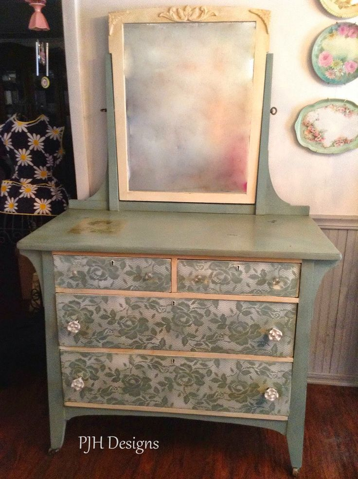 "PJH Designs Hand Painted Antique Furniture: Lovely ""Duck Egg Blue"" and Lace Dresser"
