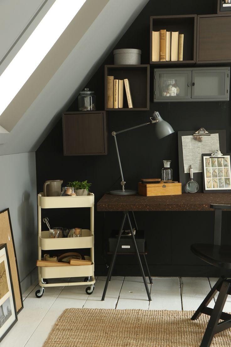 ... opbergen #oplossing #tip #schuin #dak #studeerplek #kamer #werken