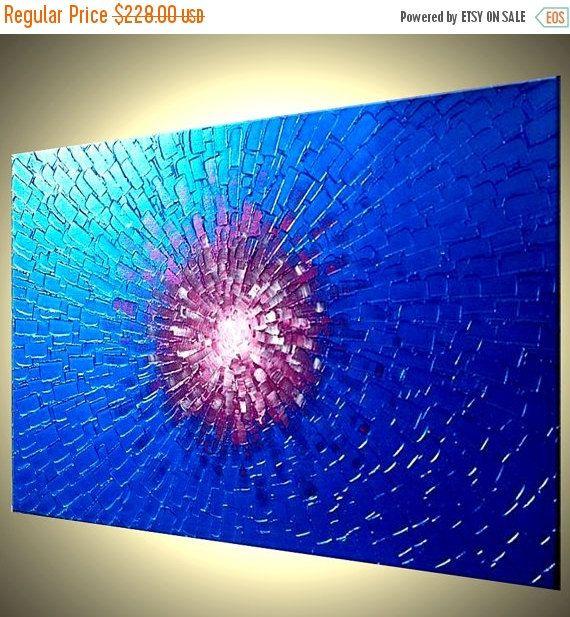 Original Metallic Blue Painting Abstract Textured by Laffertyart