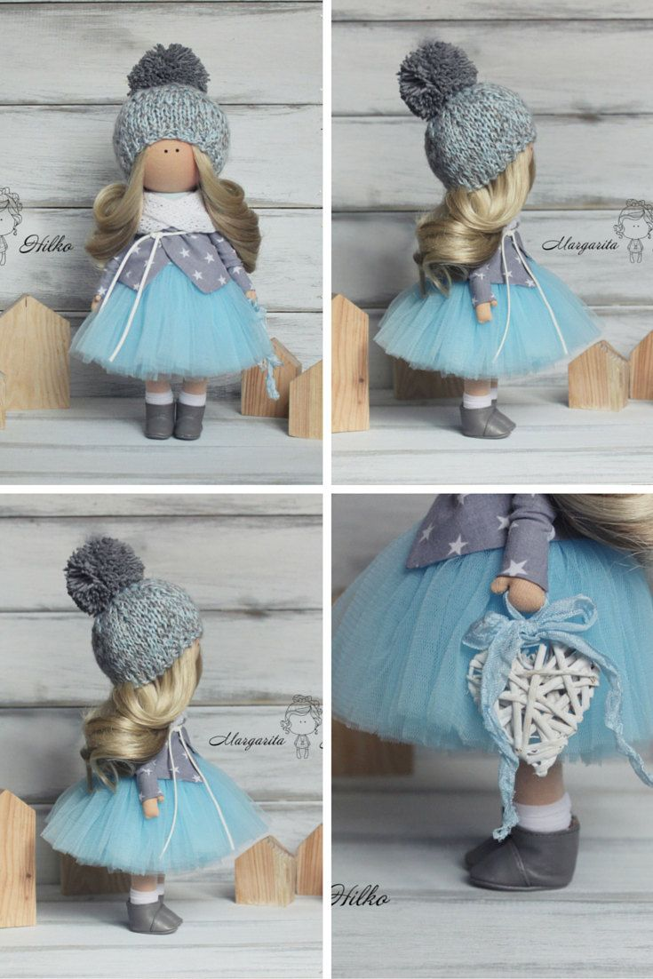 Winter doll handmade blue blonde colors by AnnKirillartPlace