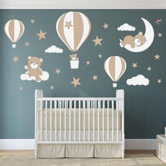 Teddy Bear Decal Hot Air Balloon Wall Stickers Stars Clouds Etsy Hot Air Balloon Nursery Nursery Wall Decals Nursery Room Decor Girl