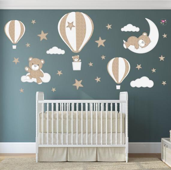Teddy Bear Decal Hot Air Balloon Wall Stickers Stars Clouds Etsy Hot Air Balloon Nursery Nursery Wall Decals Nursery Room Decor Girl