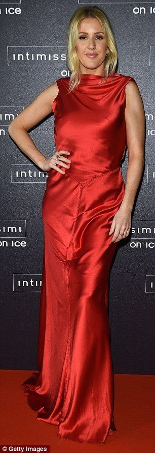 Flashing the flesh:The dress' satin material meant Ellie's chest was clearly outlined due...
