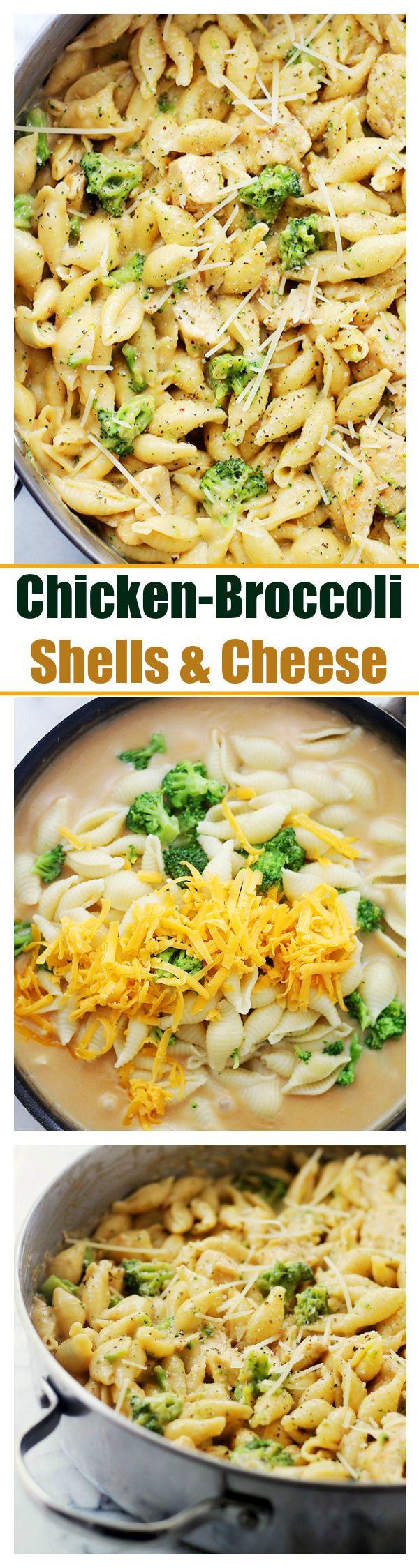 Chicken-Broccoli Shells and Cheese: Homemade, lightened-up shells and cheese, tossed with chicken and broccoli florets.