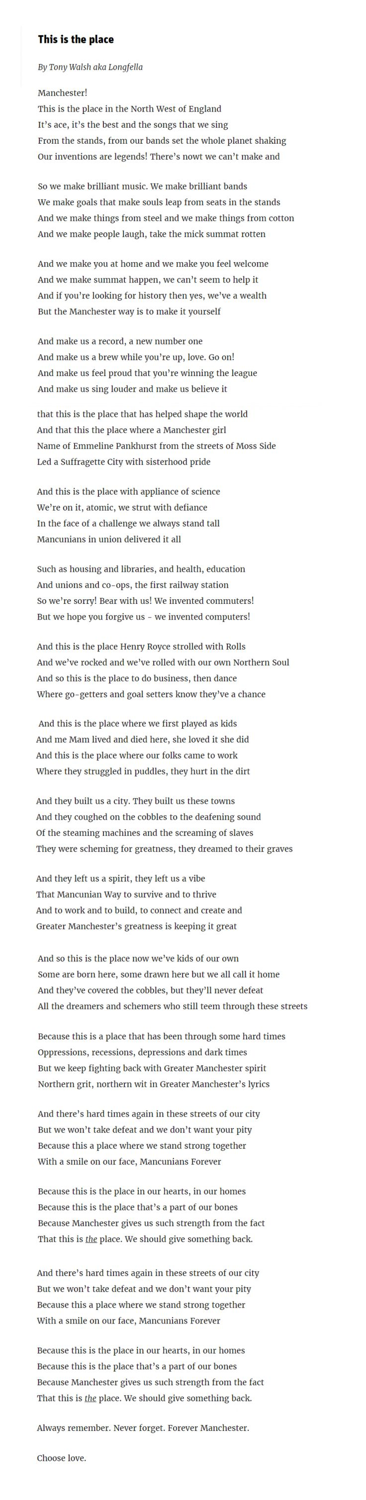 This is the place: the poem Tony Walsh read at the Manchester attack vigil