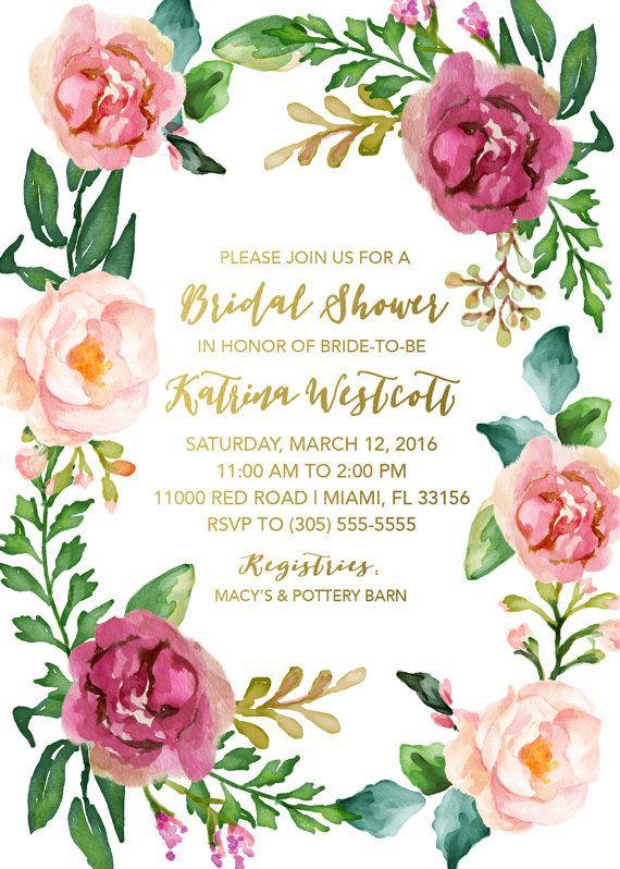 Boho Floral Wreath Bridal Shower Invitation by CasaConfetti