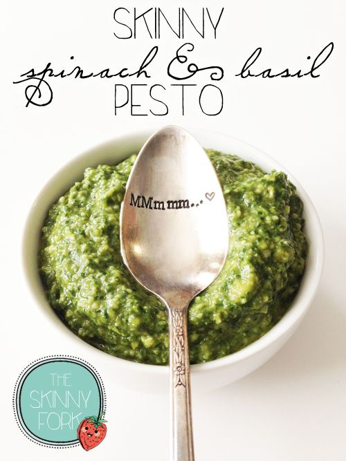 Skinny Spinach & Basil Pesto — One of the best and easiest pestos that you'll come across! Plus, less calories!