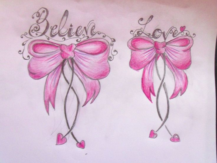Believe And Love Pink Bow Tattoos Designs