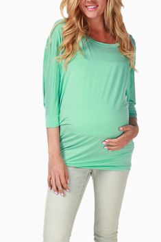 Mint Green Dolman Basic Maternity Top