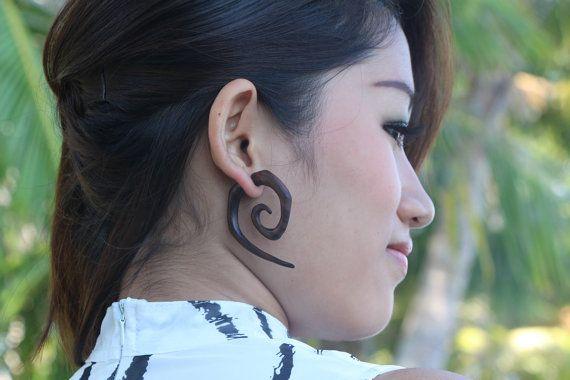 Spiraal hout oorbellen nep meters etnische Square Tribal Earring