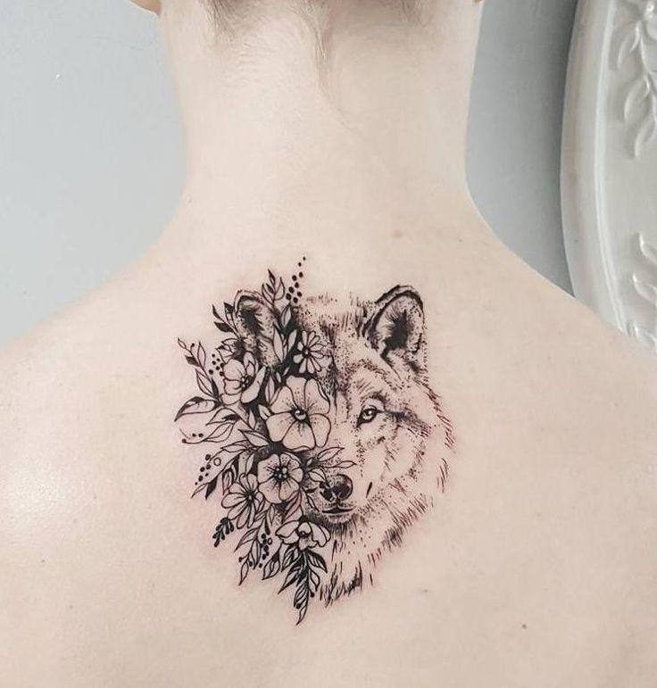 #Dotwork Tattoo Trends Wolf und Blumen Frau Rücken Genick #tätowierung frau r…