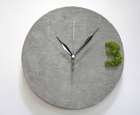 #homedecor #gray #greenery #concrete type Wall Clock industrial decor concrete office