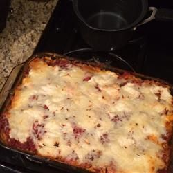 Baked Spaghetti  Allrecipes.com - made this last night, husband and son thought it needed more meat - might use 1 1/2 lbs of lean meat (I used venison) next time