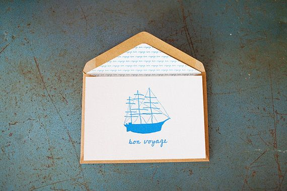 Bon Voyage {Letterpress Greeting Card} by LittlePeachCo on Etsy, $5.00
