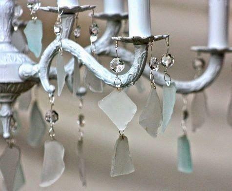 beache glass - DIY Beach Chandelier Ideas