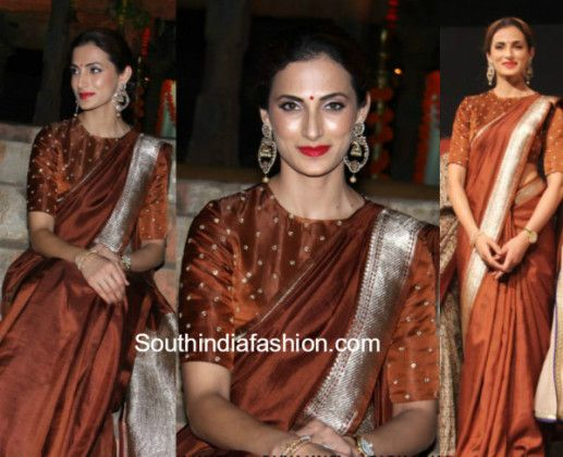 shilpa_reddy_brown_saree_boatneckblouse_gudisambaralu