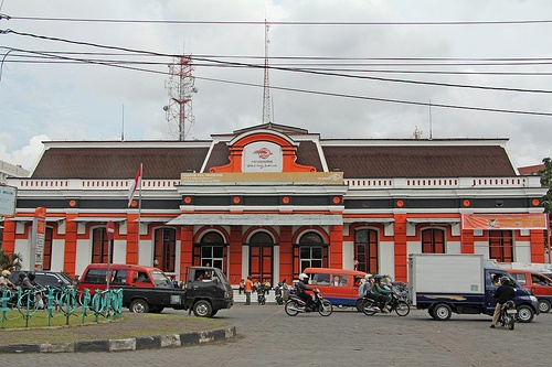 Kantor Pos - Semarang (Java - Indonesia).The postoffice in Semarang built in colonial style with fresh red-orange colors.