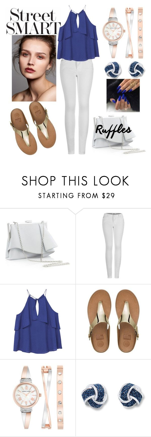 """ADD SOME FLAIR: RuffledTops❤"" by emilizastyles ❤ liked on Polyvore featuring Coast, 2LUV, MANGO, FitFlop, Anne Klein, ruffles, streetsmart and ruffledtops"
