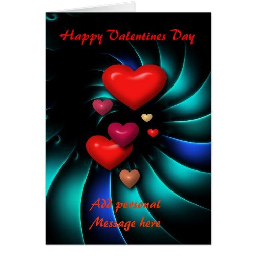 Personalized Valentines Day Card Modern Hearts Card Valentine