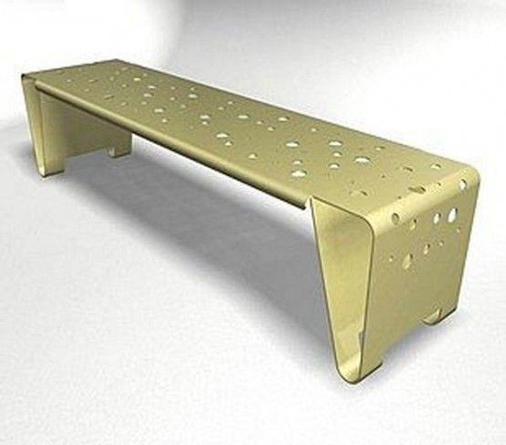 modern contemporary double fold steel bench for outdoor activity