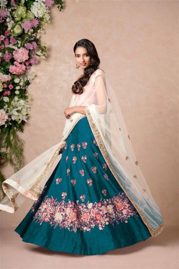 Teal Blue Lehenga Paired With Blush Pink Blouse With Dupatta Set Chic Prom Dresses Lehenga Choli Blush Pink Blouse