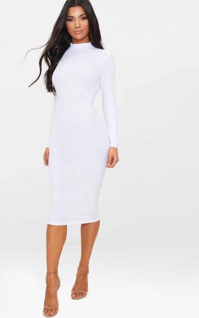 ea3259f9d1 White Rib High Neck Long Sleeve Open Back Midaxi Dress