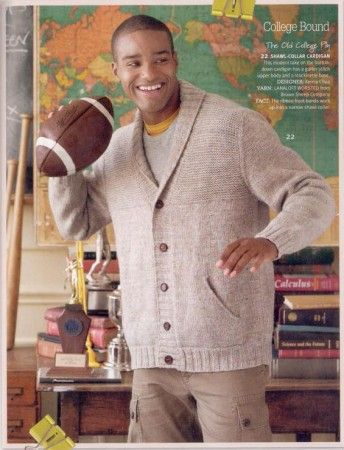 Easy Men's Crochet Sweater Pattern | Men's Shawl Collar Cardigan from Knit Simple Fall 2011 | Men Who Knit...son