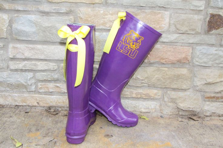 LSU Game Day Purple Rain Boots with Yellow by PuddlesNRainBows, $86.00
