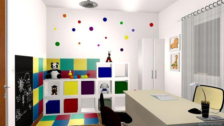Diseño de Consultorio para niños. Piso de goma encastrable, cubos de melamina blanca con cajas de colores para el guardado, en la pared circulos de colores de vinilo autoadhesivo. #decoracion #diseñointerior #niños #consultorio www.lauraartola.com