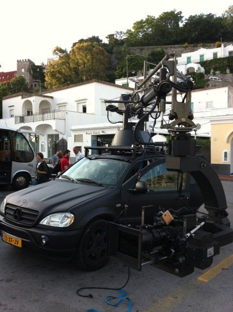Pursuit camera car on set matte black mercedes benz ml for Matte black mercedes benz