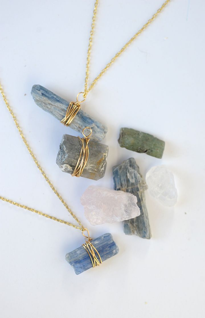 Learn how to make this simple, but elegant DIY wire wrapped stone pendant. You can make this in under ten minutes, too! So easy, and so pretty!