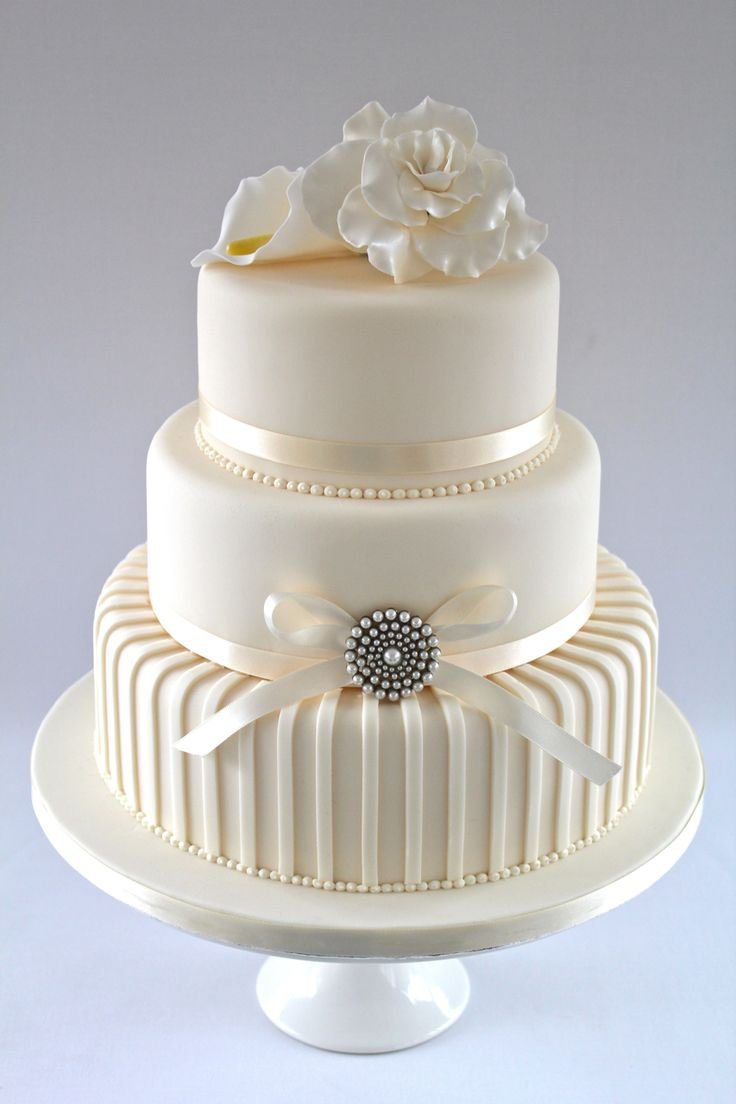 Cream /ivory wedding cake  (Love the detail)