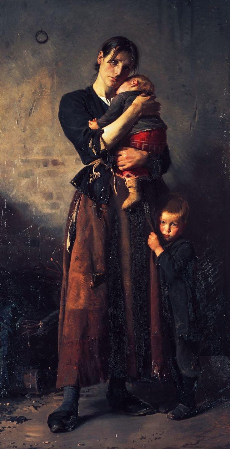 Titel: Forladt. Dog ej af venner i nøden, 1888. Malet af Frants Henningsen