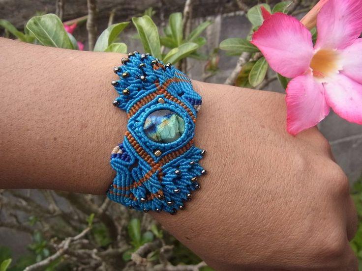 Macrame Bracelet Wristband Labradorite Stone Waxed Cord Handmade Handcrafted #Handmade