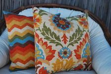 SET OF TWO HOMEMADE COLORFUL DECORATIVE ACCENT THROW PILLOW CASES 18 16 20