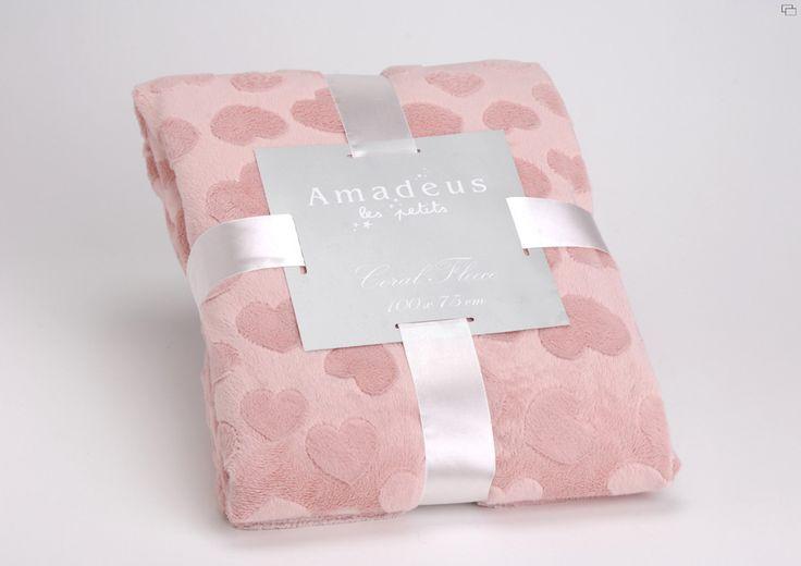 Plaid Amadeus cœur vieux rose 100 x  75 sur lmladeco.com