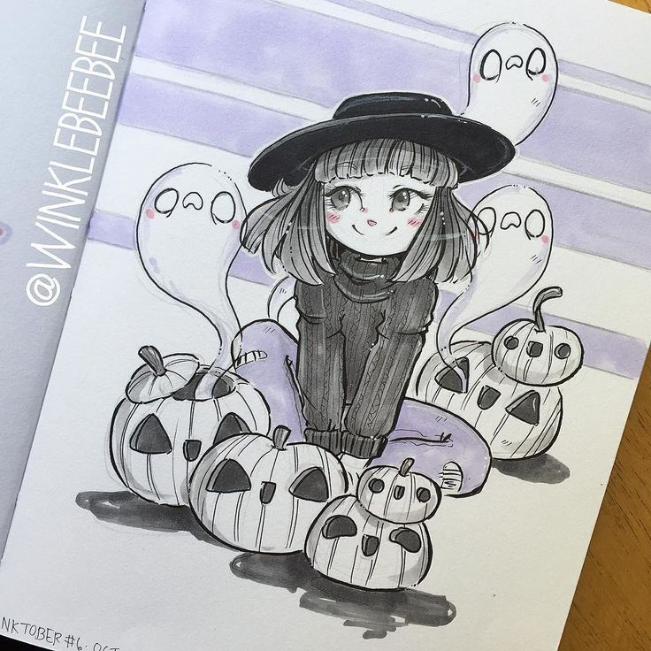 Cute witch with jack o lanterns and ghosts. Ink + Minimal color