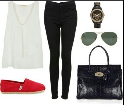 White Tank, Black Skinnies and Red TOMS (minus watch for me)