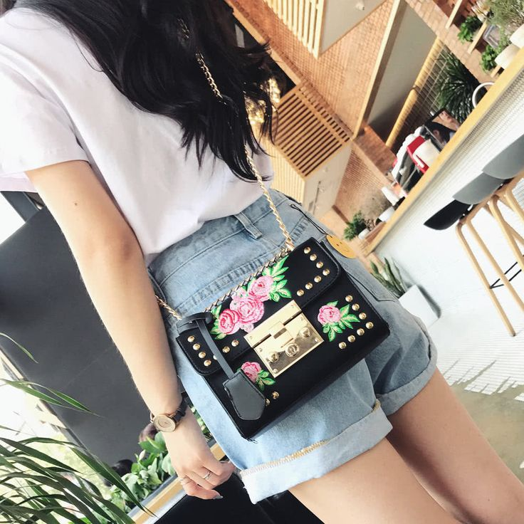 Women Floral Embroidered Shoulder Bag Chain Rivets PU Leather Sales Online black - Tomtop.com