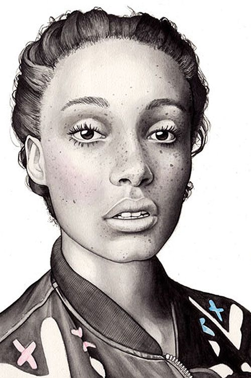 Artist: Hanna Müller {contemporary female head african-american black woman face fashion portrait illustration cropped detail drawing}
