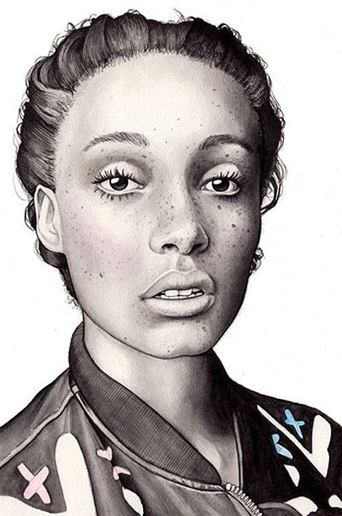 """Adwoa Aboah"" - Hanna Müller {contemporary female head art african-american black woman face fashion portrait illustration cropped detail drawing} <3 http://www.blackrunway.com/models/a/adwoa-aboah/adwoa-aboah_01/"