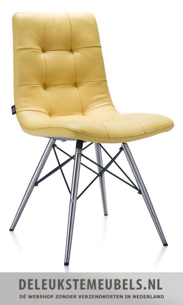 Deze hippe stoel Alec in catania leder geel van Henders & Hazel is prachtig. Hij heeft een konische poot en zit heerlijk! Snel leverbaar.  http://www.deleukstemeubels.nl/nl/alec-eetkamerstoel-catania-geel/g6/p1411/