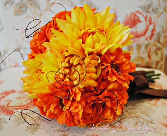 Silk Wedding Bouquet - Orange and Yellow Zinnia Dahlia ...