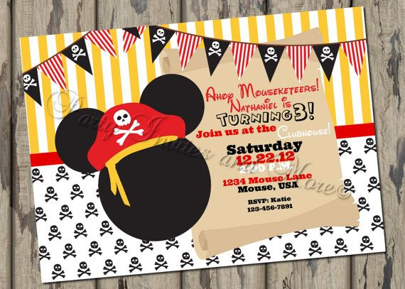 Pirate Mickey Mouse Inspired Birthday Invitation, Pirate Birthday, DIY,  Printable, Digital File, Mouse, Clubhouse, Pirate Party on Etsy, $8.00